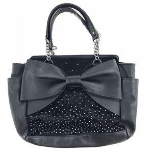 Betsey Johnson Bags - Betsey Johnson Black Bow Bag w/ Rhinestones